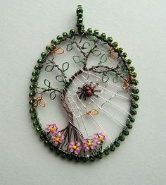 The Last Day of Summer wire wrapped tree of life pendant by Louise Goodchild