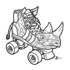 Day 4 of #Inktober 2014 by #GIGART. Remember when you were a kid and kept asking your mom to get you those rhino skates, but she always said no, you will poke your eye out. I never got a pair.