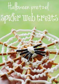 Halloween pretzel spider webs (tutorial)  CUTE!