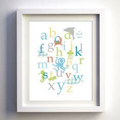 Baby nursery wall decor Ocean creatures alphabet