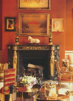 Living room vignette - orange walls