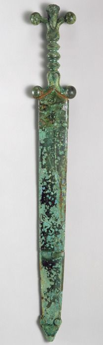 Sword, mid-1st century b.c.; Late Iron Age (La Tène)  Celtic  Iron blade, copper alloy hilt and scabbard