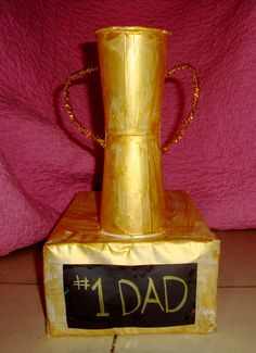 fathers day crafts, dad trophi, father day, craft idea, craft projects, fathers day gifts, preschool crafts, paper cups, construction paper