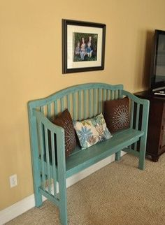 DIY bench from old crib. Maybe you could turn the old crib into a couch for a play room or the kid's room.
