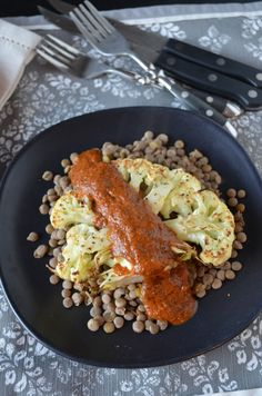 Cauliflower Steaks with Charred Red Pepper Sauce and Lentils | coffeeandquinoa.com