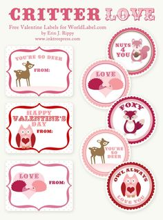 Free printable Valentine's Day labels.