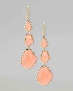 Ippolita Peach Moonstone Drop Earrings
