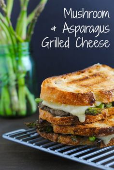 Mushroom  Asparagus Grilled Cheese - Crusty bread filled with a sautéed mushroom mixture, roasted asparagus and Gruyere cheese.