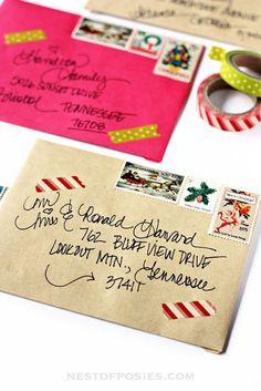 Addressing Christmas Envelopes using Washi Tape, vintage stamps & more