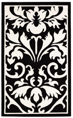 "Linon RUG-BC6257 Capri 4'3"" x 7'3"" Black & White #Linon #Transitional"