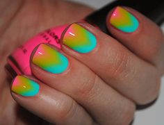 chevron gradient. Love the technique, ugly colors chevron patterns, nail polish, colorful nails, pink nail, nail arts, gradient nails, rainbow nails, neon nails, sinful colors