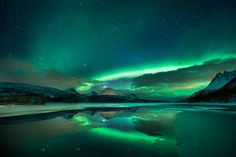 The Northern Lights, stars and the moon are reflected in icy water at Aldersundet In Nordland, Norway