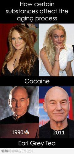 How certain substances affect the aging process.  Tea is gooood, drugs baaaad.