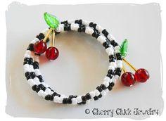 MCheckered Cherry Memory Wire Bracelet   CherryChick - Jewelry on ArtFire