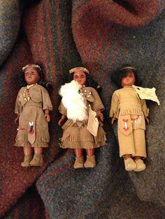 Set of Three Cherokee Native American Dolls / Plastic 60s / 70s Retro Toys