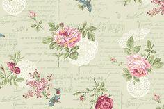 RURU Bouquet RU2200-14C Green Floral Script by Quilt Gate