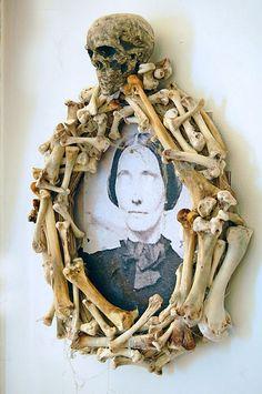Wash and bleach chicken bones.  Wonderfully creepy idea!