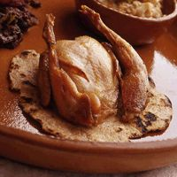 "Quail on Barley Flatbreads    Adapted from ""The Oldest Cuisine in the World,"" Jean Bottero  #mesopotamia #history #recipe"