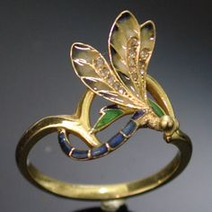 Dragonfly gold enamel Art Nouveau ring