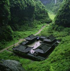 The temple building at Wulong Natural Rock Bridges, UNESCO World Heritage Site, Chongqing Municipality, China.