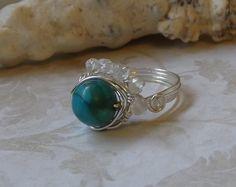 wrap turquois, wire wrap, gift ideas, etsi marketplac, thing etsi, jewelri lover, etsi fave, turquois magnesit