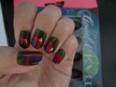 Color blocking - Sephora by OPI mini collection 'The Garden of Good & Evil' - Completely Fern-ished, Eve-y On the Eyes - and Stripe Rite in red