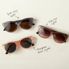 Meet the girls: TOMS Yvette, Kitty and Margeaux sunglasses.