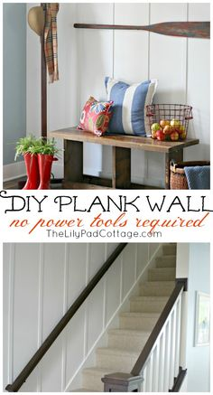 power tool, bench, plank walls, lilypad cottage, diy cottage wall