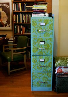 custom painted and stenciled filing cabinet.