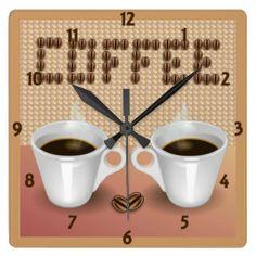 Coffee Wall Clock by elenaind #Zazzle
