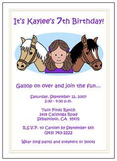 Pony party invitation idea