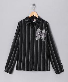 #zulily #fall Black & White Button-Up Shirt