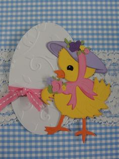 Handmade Easter Egg with Chick Embellishment Pink-Yellow-White  for Cards and Scrapbook Layouts.via Etsy.