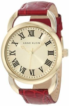 Anne Klein Women's AK/1176CHBE Gold-Tone Open Lug Berry Red Leather Strap Watch Anne Klein. $74.86. Berry red color croco-grain leather strap with matching stitching. Case diameter: 45mm. Japanese quartz movement and scratch resistant mineral crystal. Gold-tone buckle closure. Gold-tone skeleton hour and minute hands; stick second hand sweep