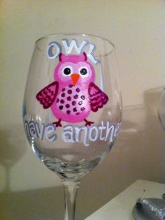 pictures of painted wine glasses | Hand Painted Owl Wine Glass