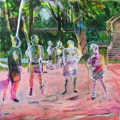 The Boys On Barques 30x30 Mixed media on canvas