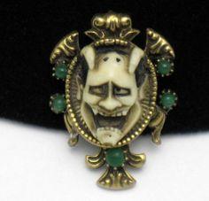 Vintage Florenza Style Figural Genghis Khan Devil Brooch Pin   eBay