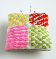 Needlepoint pincushion (by Whitney Crutchfield)