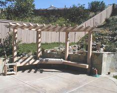 Corner Pergola Design with built in bench