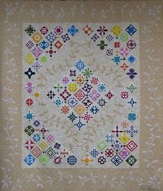 Jane's Spring Garden.  Quilters Unlimited, 2014 raffle quilt, made with 95 Dear Jane blocks.