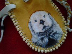 Little Otter Medicine Bag by earthwayspirit on Etsy, $18.00 #medicine #bag #nativeamerican #otters #cuteanimals #art #bags #clothing