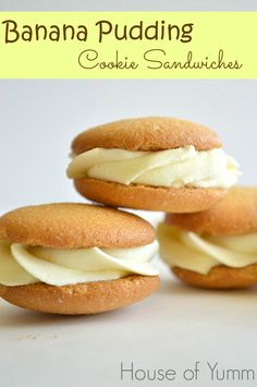 Banana Pudding Cookie Sandwiches.  A new version on a southern classic!  These Nilla Wafers are filled with a banana pudding mousse!  Quick,...