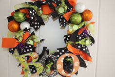 BOO Halloween Ribbon Wreath.