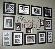 You make my heart smile decal looks awesome surrounded by family photos!   #decal #decals #tradingphrases #heart #smile #decor #sticker #vinyl #walldecals #walldecal #home #family #photo #collage #wall