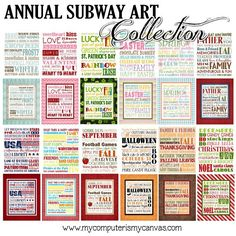 Annual Subway Art Collection - Printable via Etsy