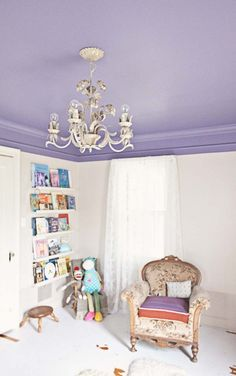 A purple ceiling adds an unexpected jolt of color.