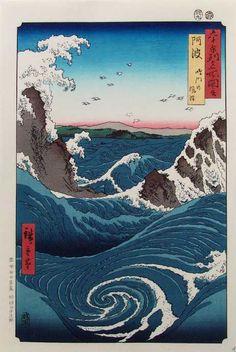Hiroshige - The Whirlpools of Awa at Naruto (1855)