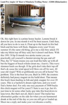 This guy knows how to sell a boat…