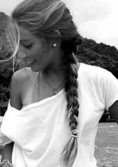 french braids, summer styles, summer hair, cut shirts, tan lines, long hair, one shoulder, white, beach hair
