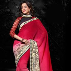 Shaded #Red and Beige Faux #Chiffon #Saree with Blouse